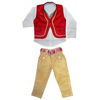 Smilee Kid's Boys Fancy 3pcs Jacket Party Wear Full Suit In Rust White Phone