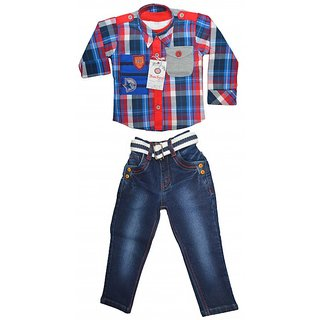 Smilee Kid's Boys Fancy 3pcs Jacket Party Wear Full Suit In Red Blue Checks