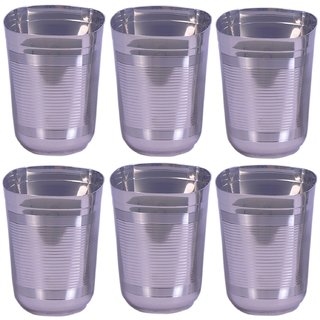 Square shape drinking glass set of 6 with full lines