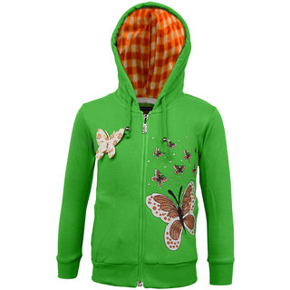Kothari Girls Casual Green Fleece and Cotton Polyester Girls Hooded Sweatshirt