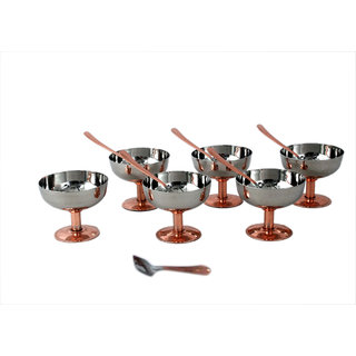 Stainless steel set of 6 ice cream cup and 6 ice cream spoon with copper plated bottom