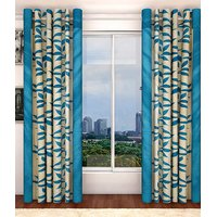 Blue,White Polyester Door Unstitch Curtain Feet (Combo Of )