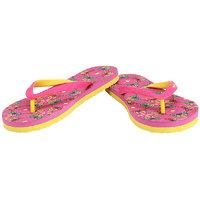 Sparx Women's Pink & Yellow Flip Flops