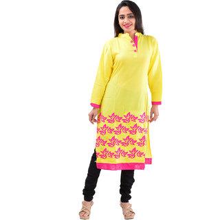 SuratTex Yellow Printed Cotton Stitched Kurti