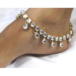 White stones kundan anklet
