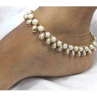 White pearl kundan anklet