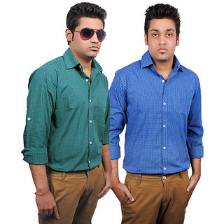 Combo Zavlin Blue & Green Checks Casual Shirts