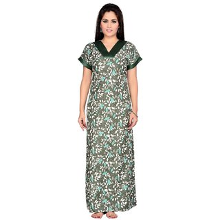 me-2 Green Printed Free Size Nighty for Women