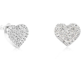 LeCalla Heart Shape Stud Earrings CZ Stone