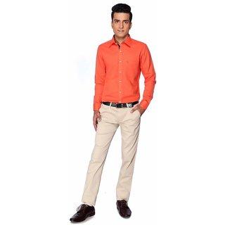 Silver Leaf Mens Formal Shirt-FS-000254-Orange-42