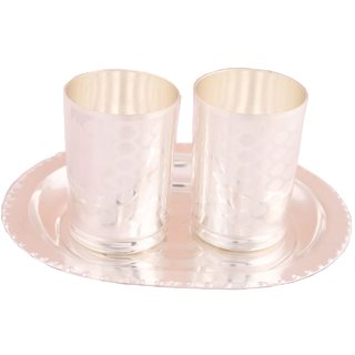 Shreeng Silver Plated Premium  Doted Glass Set With oval Tray 3 Pcs.