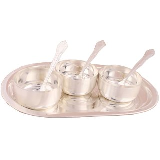 Shreeng Silver Plated Premium  Bowl Set With oval Tray 7 Pcs.