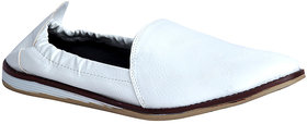 Panahi Men's White Slip On Casual Shoes