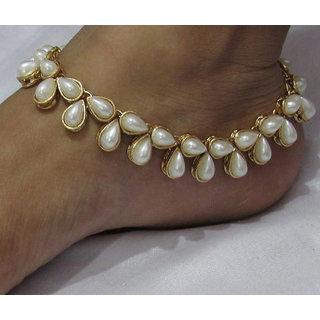 Fully pearl kundan anklets