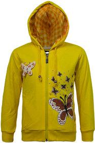 Kothari Girls Casual Yellow Fleece and Cotton Polyester Girls Hooded Sweatshirt