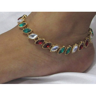 Maroon green kundan anklet