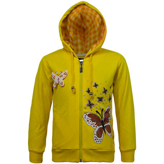 Kothari Girls Casual Yellow Fleece Cotton Polyester Hooded Sweatshirt