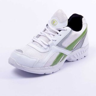 Foot 'n' Style Comfortable White & Light Green Sports Shoes (fs420)
