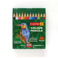 Camlin Half Size Colour Pencil -12 Shades with 1 Sharpener (pack of 15)