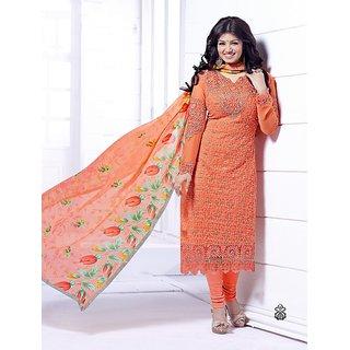 Thankar Orange Heavy Embroidery Straight Suit