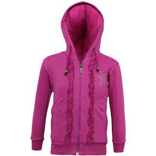 Kothari Girls Casual Fushia Fleece Cotton Polyester Hooded Sweatshirt