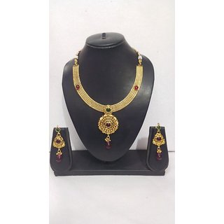 GOLDEN STAR Gold Plated Meenakari Stone Set in Red and green
