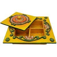 Wooden  Paper Mache Dry Fruit Box With Kundan Work