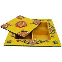 Wooden  Paper Mache Dry Fruit Box (With Kundan Work)