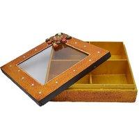 Wooden  Paper Mache Dry Fruit Box With - Kundan Work