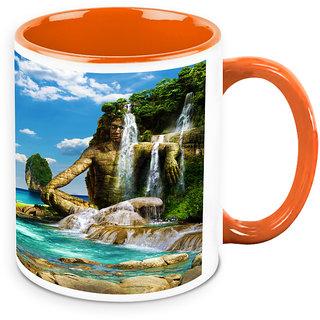 Homesogood Beautiful Painting Of Nature With Waterfall White Ceramic Coffee Mug - 325 Ml
