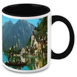 Homesogood People Appreciating Beautiful Nature White Ceramic Coffee Mug - 325 Ml