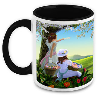 Homesogood Girls Enjoying Picnic Around Nature White Ceramic Coffee Mug - 325 Ml