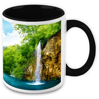 Homesogood Water Falling Deep To Please Nature White Ceramic Coffee Mug - 325 Ml