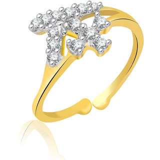 Jewelscart.In Adjustable Diamonds Gold Plated Finger Ring JC01000735