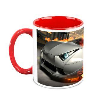 Homesogood Automobile In Fierce Battle White Ceramic Coffee Mug - 325 Ml