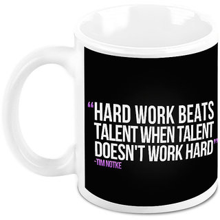 Homesogood Hard Work Is Key To Success Office Quote White Ceramic Coffee Mug - 325 Ml
