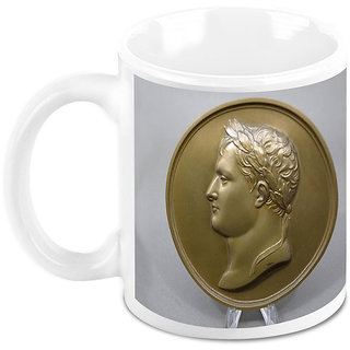 Homesogood Antique Coin Of Napoleon White Ceramic Coffee Mug - 325 Ml