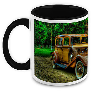 Homesogood Classical Antique Car White Ceramic Coffee Mug - 325 Ml