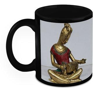 Homesogood Bronze Sculpture Of Lady Playing Drums Black Ceramic Coffee Mug - 325 Ml