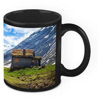 Homesogood Nature Has Home For Everyone Black Ceramic Coffee Mug - 325 Ml