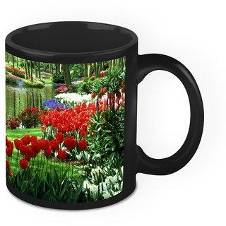 Homesogood Flowers Are Prince Of Nature Black Ceramic Coffee Mug - 325 Ml
