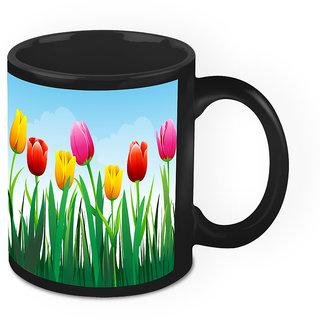 Homesogood Nature Comprising Amazing Flowers Black Ceramic Coffee Mug - 325 Ml