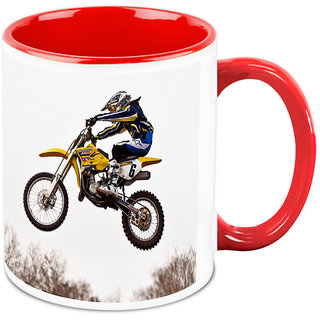 Homesogood Automobile Showing Stunts White Ceramic Coffee Mug - 325 Ml