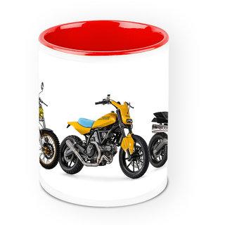 Homesogood Dirt Biking Automobile White Ceramic Coffee Mug - 325 Ml
