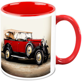Homesogood Vintage Red Classical Automobile White Ceramic Coffee Mug - 325 Ml