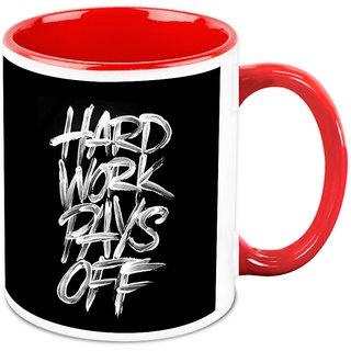 Homesogood Hard Work Pays Off Office Quote White Ceramic Coffee Mug - 325 Ml