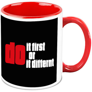Homesogood Do It First Or Do It Different Office Quote White Ceramic Coffee Mug - 325 Ml