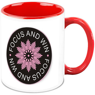 Homesogood Focus And Win Office Quote White Ceramic Coffee Mug - 325 Ml