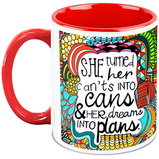 Homesogood Turn Your CanT To Can Office Quote White Ceramic Coffee Mug - 325 Ml