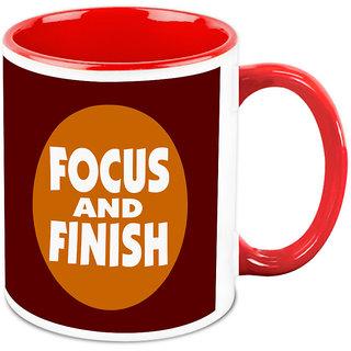 Homesogood Focus And Finish Office Quote White Ceramic Coffee Mug - 325 Ml